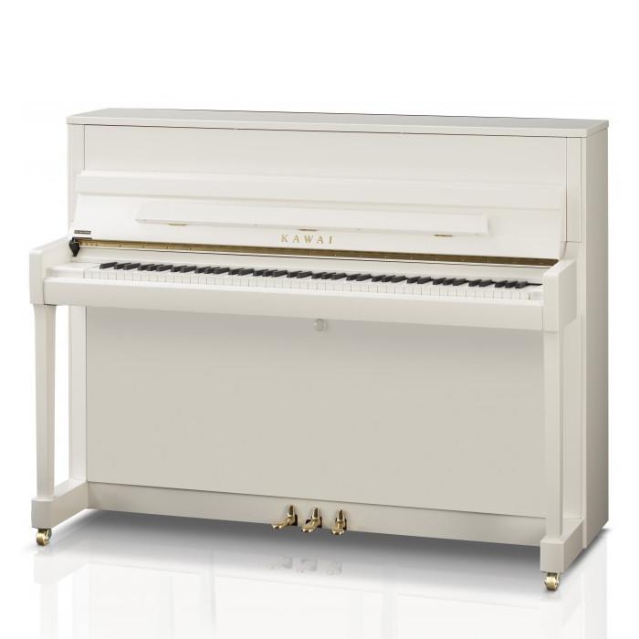 Hoogglans Witte Piano.Kawai K 200 Wh P Messing Piano