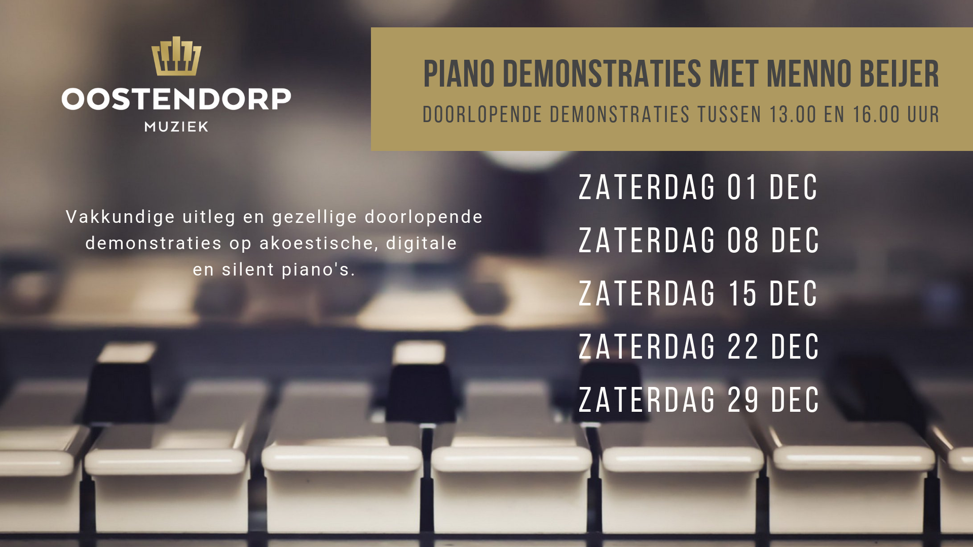 Elke zaterdag in december pianodemo's!